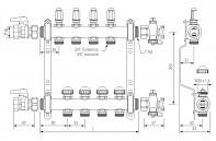 Rozdělovač REHAU HKV-D mosaz - 6 okruhů s průtokoměry