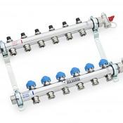 Nerezový rozdělovač REHAU HKV-D 15 okruhů s průtokoměry