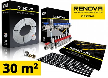SET KOMPLET 30m2 RENOVA ORIGINAL podlahové topení + 1x rozdělovač