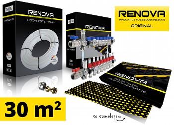 SET KOMPLET 30m2 RENOVA ORIGINAL podlahové topení se samolepem + 1x rozdělovač