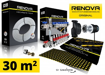 SET KOMPLET 30m2 RENOVA ORIGINAL podlahové topení se samolepem + 1x rozdělovač s čerpadlem